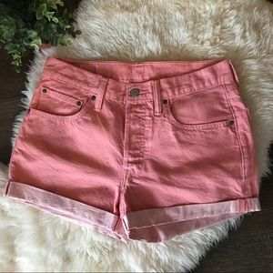 Levi's 501 coral pink denim / jean shorts
